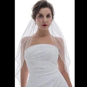 Two Layer Crystal Edge Bridal Veil - Diamond White